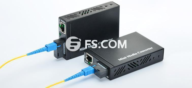 fiber media converters connected by fiber patch cable