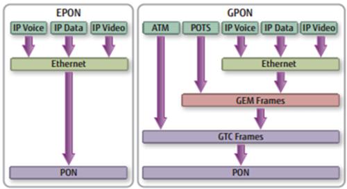 EPON and GPON layering