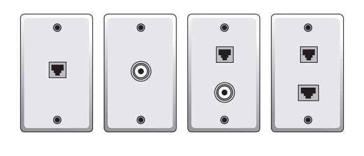 fixed design wall plates with varying numbers of sockets